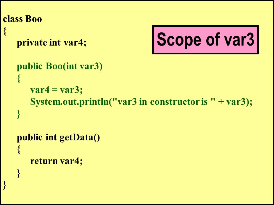 class Boo { private int var4; public Boo(int var3) { var4 = var3; System.out.println( var3 in constructor is + var3); } public int getData() { return var4; } Scope of var3