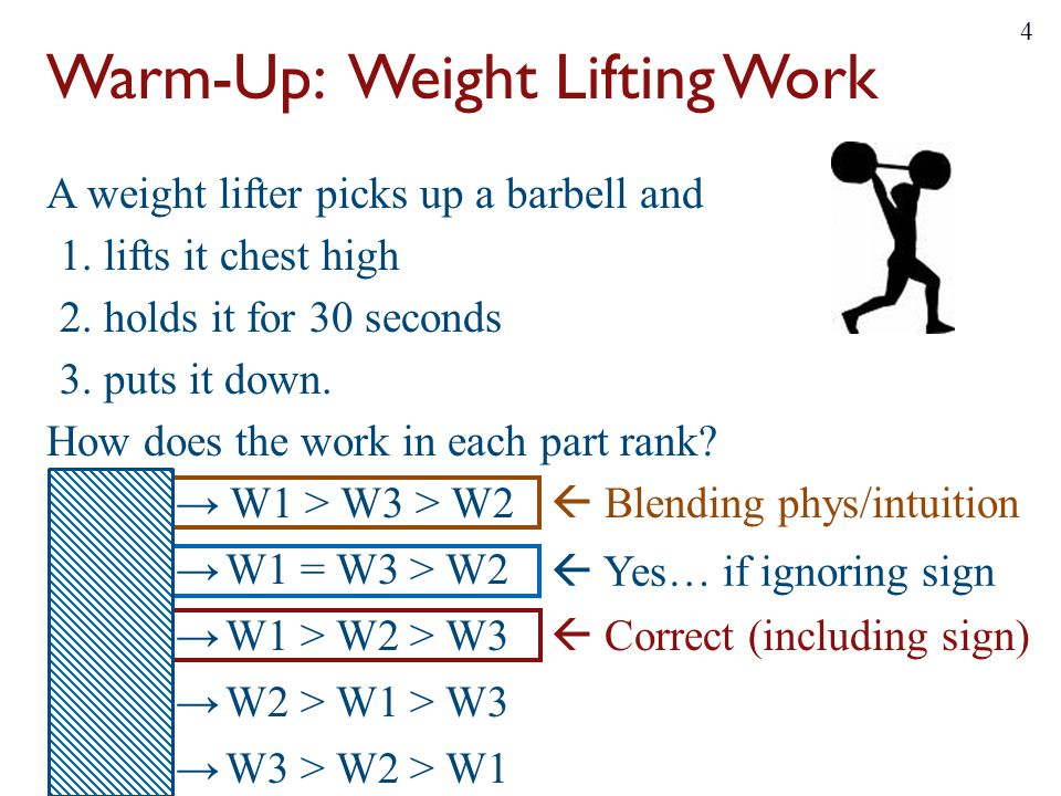 Warm-Up: Weight Lifting Work A weight lifter picks up a barbell and 1. lifts it chest high 2. holds it for 30 seconds 3. puts it down. How does the wo