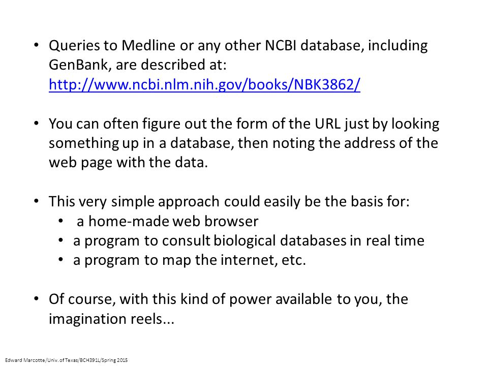 Queries to Medline or any other NCBI database, including GenBank, are described at: http://www.ncbi.nlm.nih.gov/books/NBK3862/ http://www.ncbi.nlm.nih.gov/books/NBK3862/ You can often figure out the form of the URL just by looking something up in a database, then noting the address of the web page with the data.
