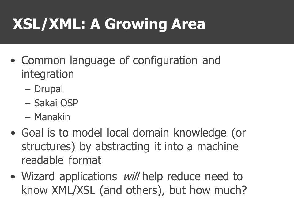 How Manakin uses XML, XPATH, XSL Manakin Dynamically Generated XML Document XSLT Processor Static XSL Stylesheet(s) Static XSL Stylesheet(s) Static XSL Stylesheet(s) Transformed DRI, METS, XHTML Output Static i18n Translation Files
