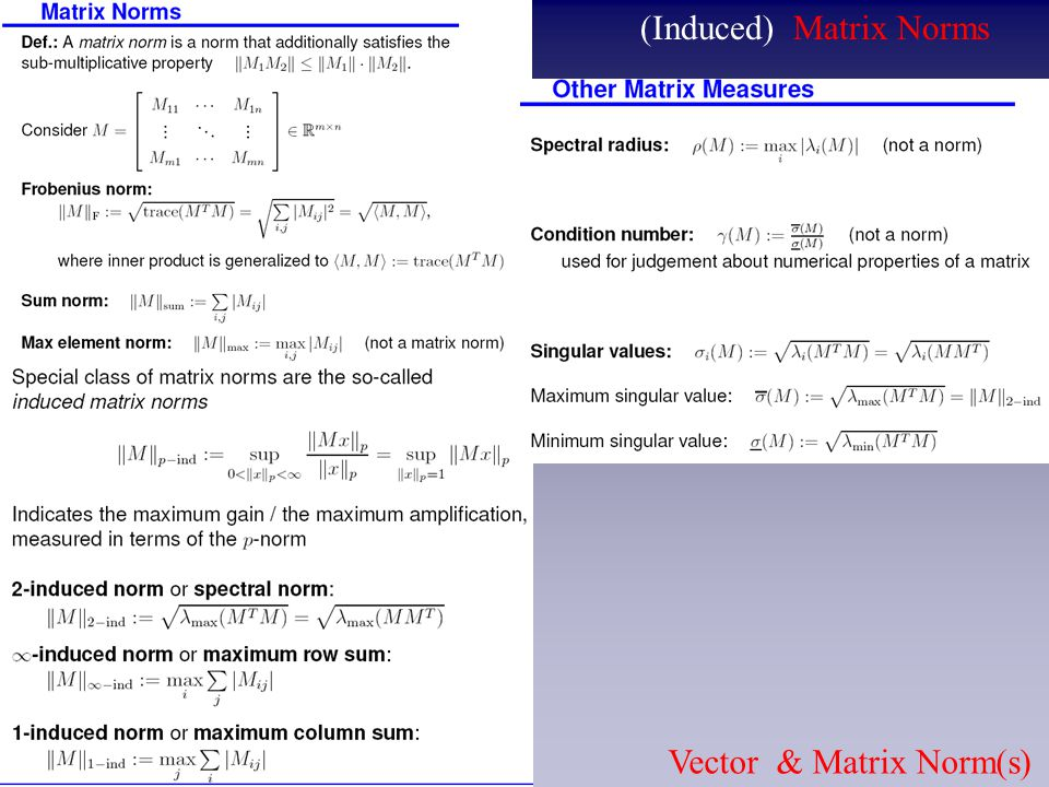 (Induced) Matrix Norms Vector & Matrix Norm(s)