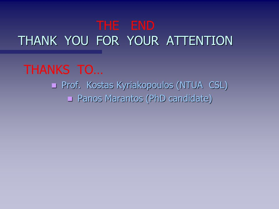 THANK YOU FOR YOUR ATTENTION THE END THANK YOU FOR YOUR ATTENTION THANKS TO… Prof.