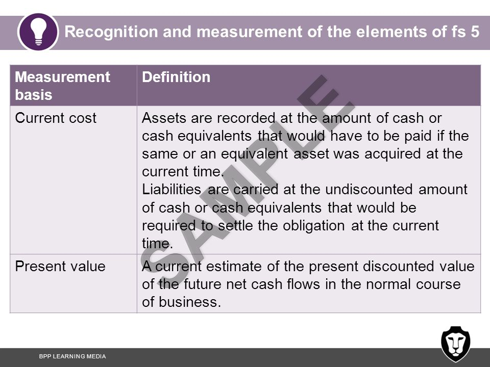 BPP LEARNING MEDIA Recognition and measurement of the elements of fs 5 Measurement basis Definition Current costAssets are recorded at the amount of cash or cash equivalents that would have to be paid if the same or an equivalent asset was acquired at the current time.