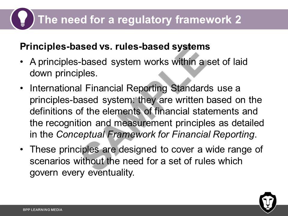 BPP LEARNING MEDIA The need for a regulatory framework 2 Principles-based vs.