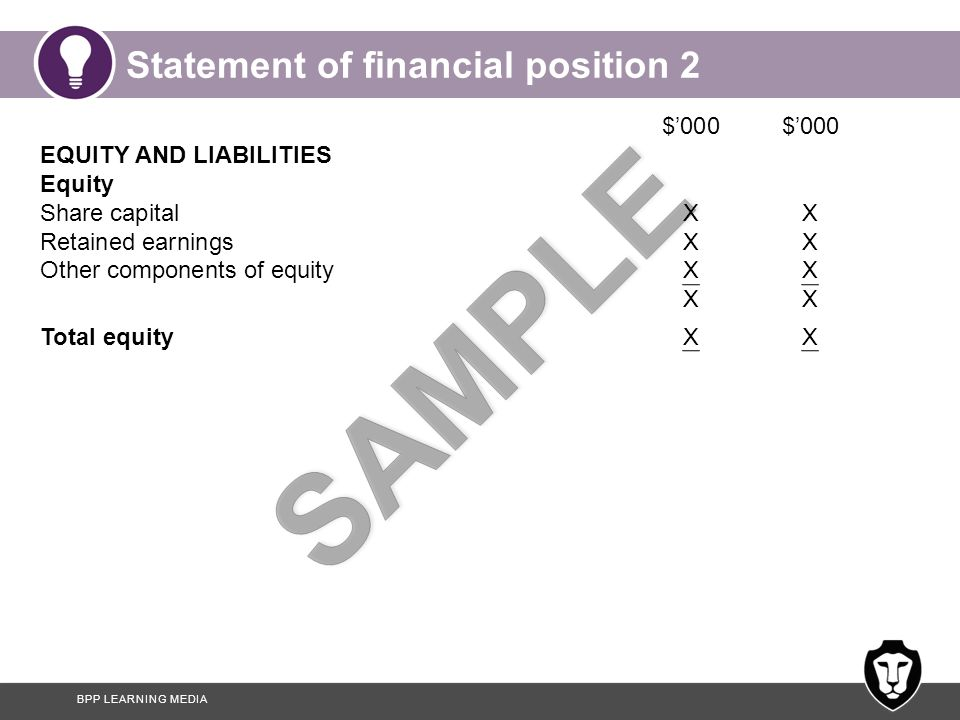 BPP LEARNING MEDIA Statement of financial position 2 $'000 $'000 EQUITY AND LIABILITIES Equity Share capitalXX Retained earningsXX Other components of equityXXX Total equityXX