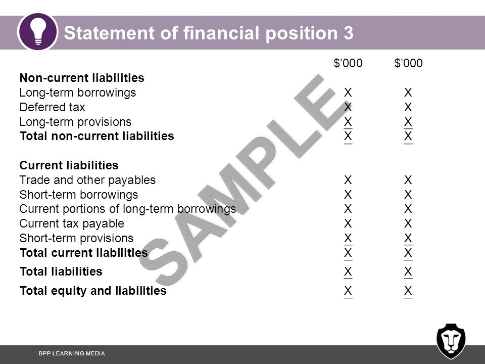 BPP LEARNING MEDIA Statement of financial position 3 $'000 $'000 Non-current liabilities Long-term borrowingsXX Deferred taxXX Long-term provisionsXX Total non-current liabilities XX Current liabilities Trade and other payablesXX Short-term borrowingsXX Current portions of long-term borrowings XX Current tax payableXX Short-term provisionsXX Total current liabilities XX Total liabilitiesXX Total equity and liabilitiesXX