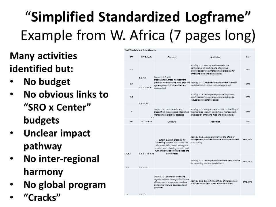 Simplified Standardized Logframe Example from W.