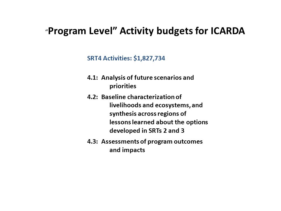 SRT4 Activities: $1,827,734 4.1: Analysis of future scenarios and priorities 4.2: Baseline characterization of livelihoods and ecosystems, and synthesis across regions of lessons learned about the options developed in SRTs 2 and 3 4.3: Assessments of program outcomes and impacts Program Level Activity budgets for ICARDA