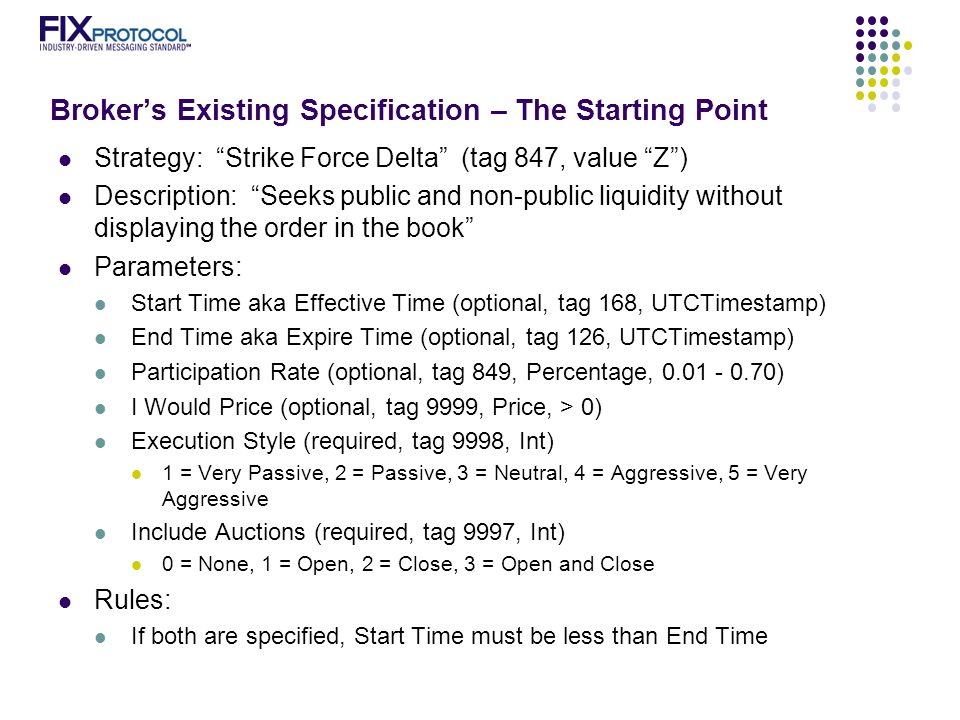 Broker's Existing Specification – The Starting Point Strategy: Strike Force Delta (tag 847, value Z ) Description: Seeks public and non-public liquidity without displaying the order in the book Parameters: Start Time aka Effective Time (optional, tag 168, UTCTimestamp) End Time aka Expire Time (optional, tag 126, UTCTimestamp) Participation Rate (optional, tag 849, Percentage, 0.01 - 0.70) I Would Price (optional, tag 9999, Price, > 0) Execution Style (required, tag 9998, Int) 1 = Very Passive, 2 = Passive, 3 = Neutral, 4 = Aggressive, 5 = Very Aggressive Include Auctions (required, tag 9997, Int) 0 = None, 1 = Open, 2 = Close, 3 = Open and Close Rules: If both are specified, Start Time must be less than End Time