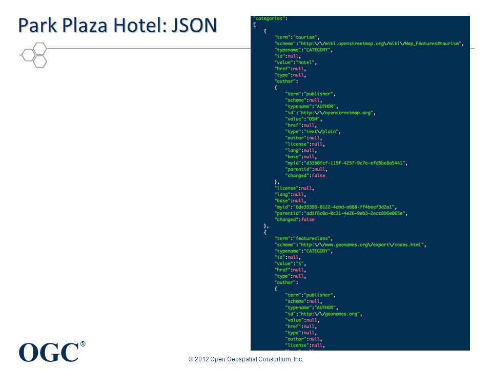 OGC ® Park Plaza Hotel: JSON © 2012 Open Geospatial Consortium, Inc.