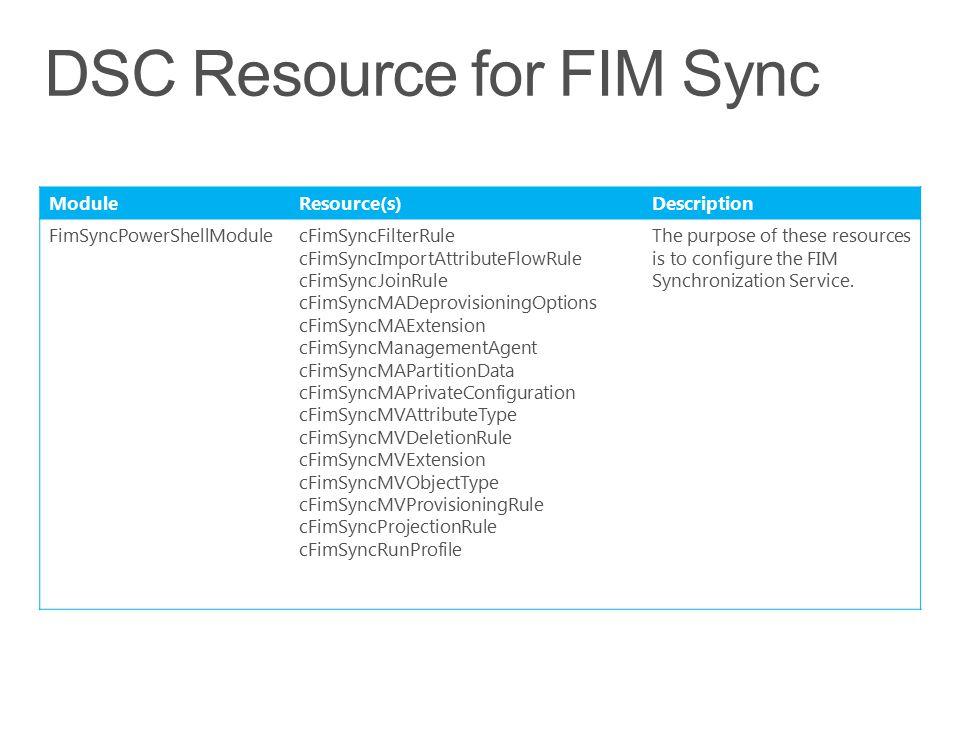 ModuleResource(s) Description FimSyncPowerShellModulecFimSyncFilterRule cFimSyncImportAttributeFlowRule cFimSyncJoinRule cFimSyncMADeprovisioningOptio