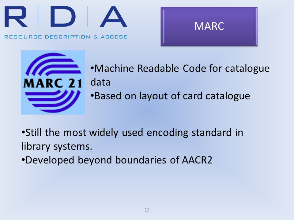 22 Machine Readable Code for catalogue data Based on layout of card catalogue Still the most widely used encoding standard in library systems.