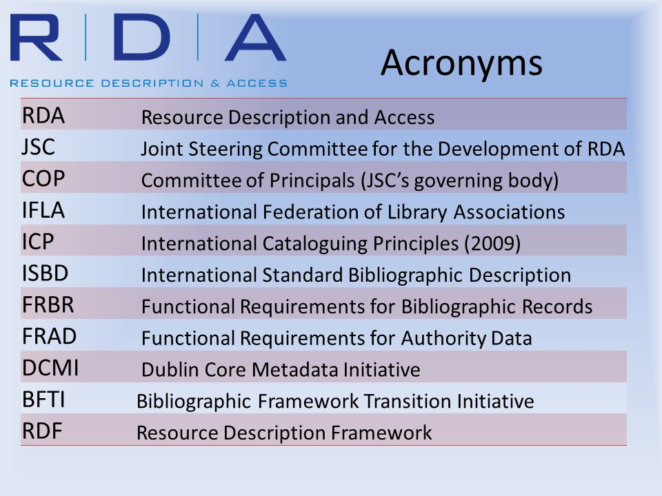 Acronyms RDA Resource Description and Access JSC Joint Steering Committee for the Development of RDA COP Committee of Principals (JSC's governing body