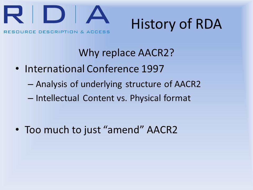 History of RDA AACR3.