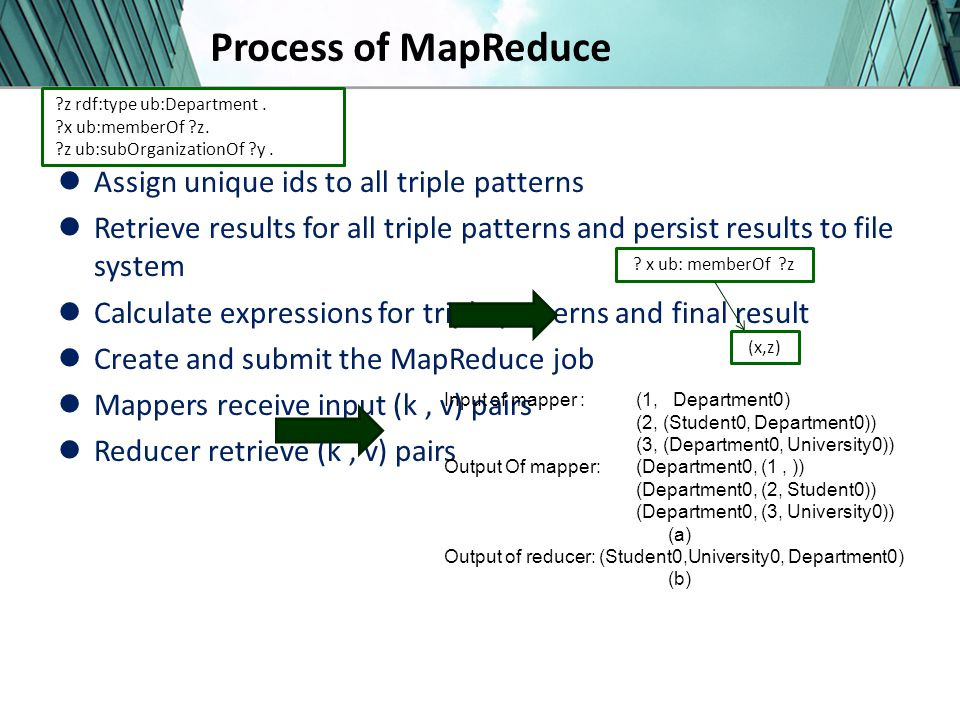 Process of MapReduce Assign unique ids to all triple patterns Retrieve results for all triple patterns and persist results to file system Calculate expressions for triple patterns and final result Create and submit the MapReduce job Mappers receive input (k, v) pairs Reducer retrieve (k, v) pairs Input of mapper : (1, Department0) (2, (Student0, Department0)) (3, (Department0, University0)) Output Of mapper: (Department0, (1, )) (Department0, (2, Student0)) (Department0, (3, University0)) (a) Output of reducer: (Student0,University0, Department0) (b) .