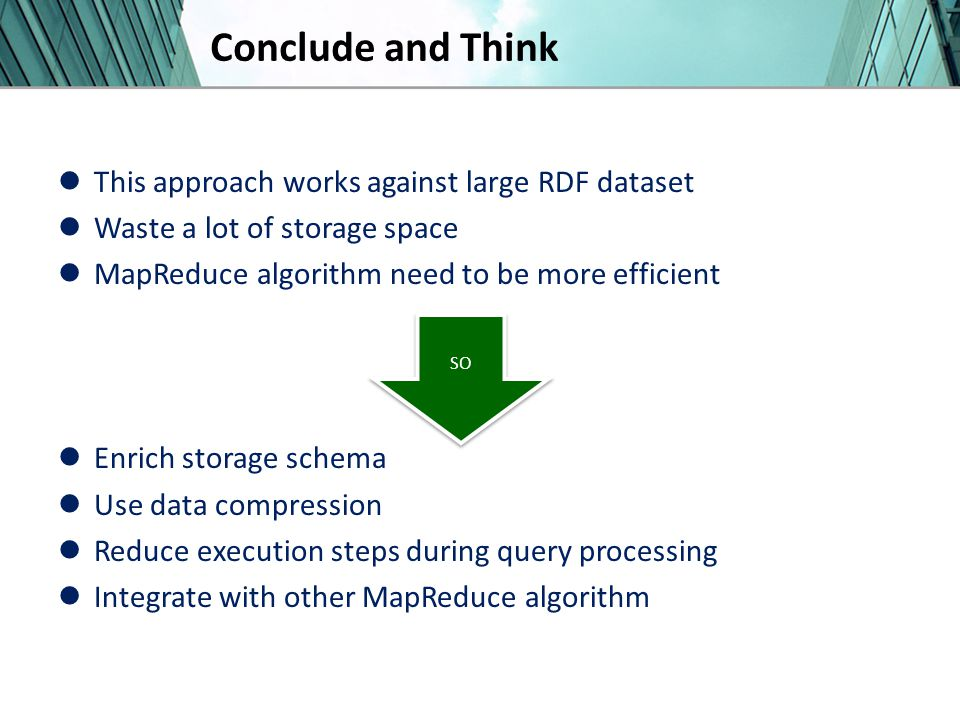 Conclude and Think This approach works against large RDF dataset Waste a lot of storage space MapReduce algorithm need to be more efficient Enrich storage schema Use data compression Reduce execution steps during query processing Integrate with other MapReduce algorithm SO