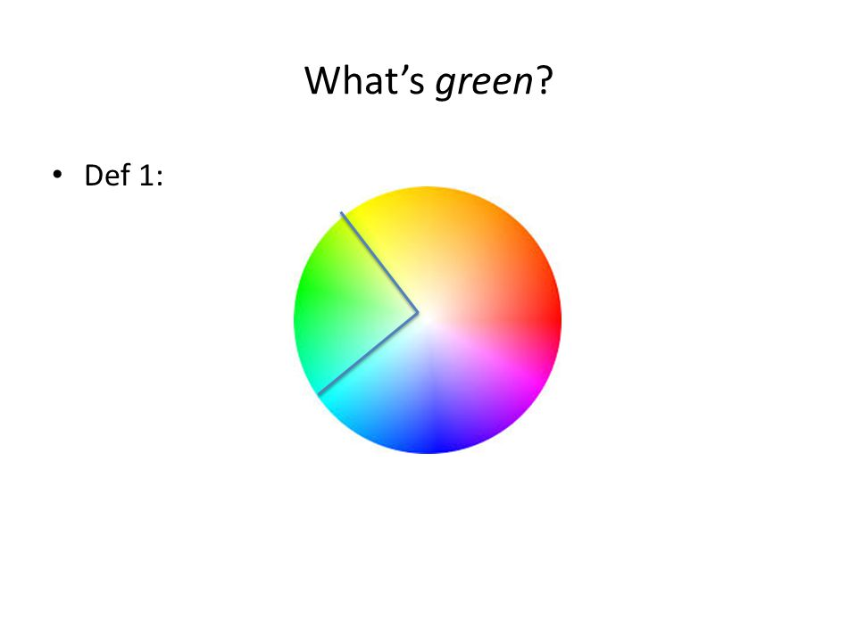 What's green? Def 1: