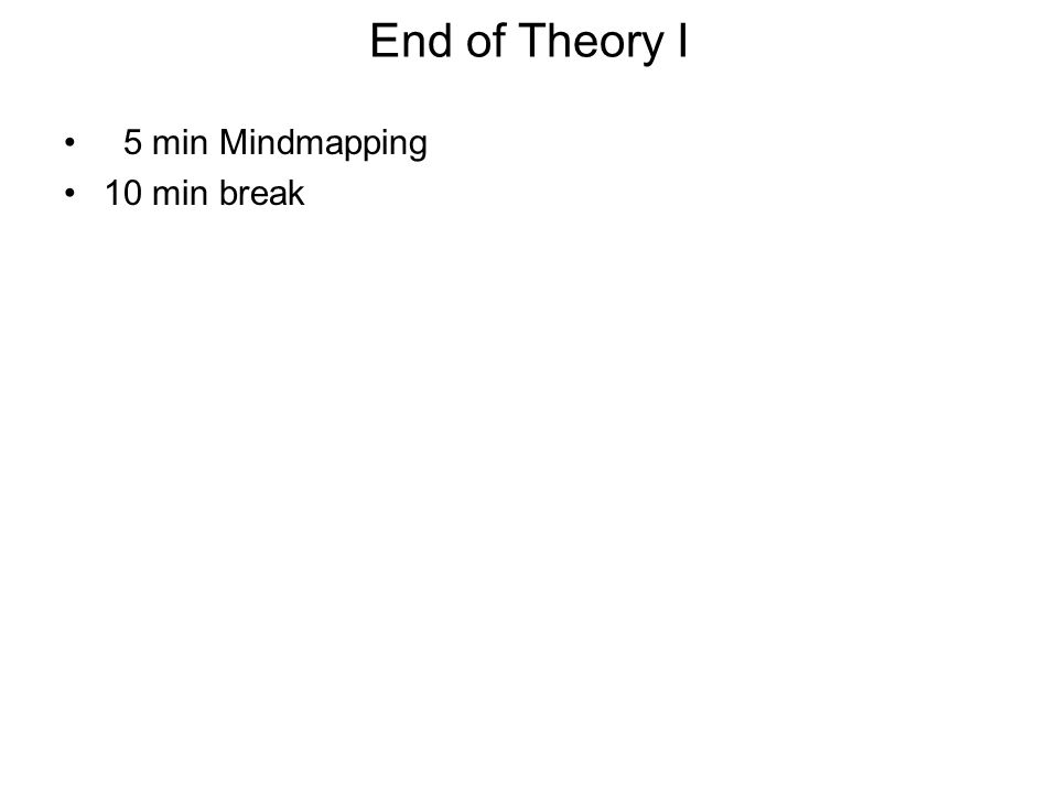 End of Theory I 5 min Mindmapping 10 min break