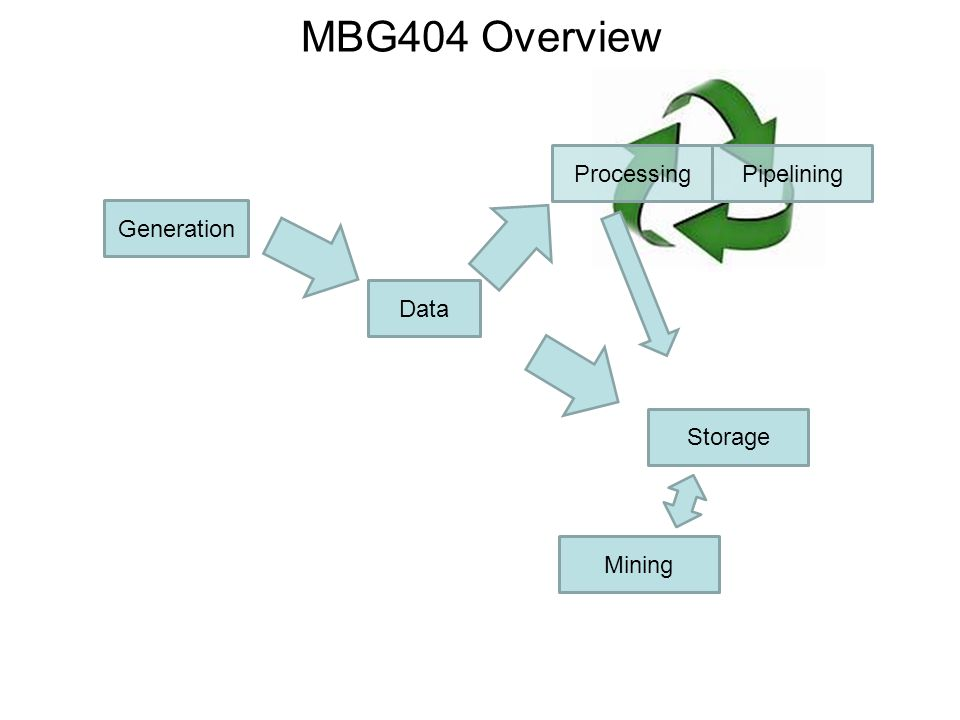 MBG404 Overview Data Generation Processing Storage Mining Pipelining