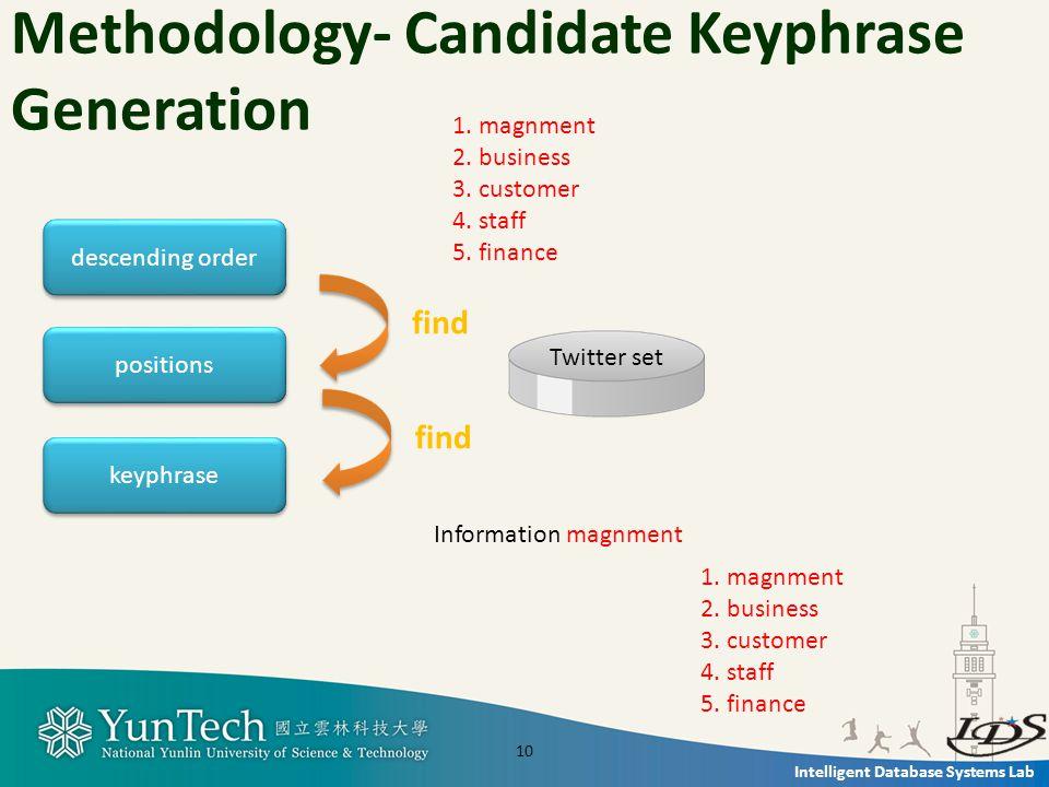Intelligent Database Systems Lab Methodology- Candidate Keyphrase Generation positions keyphrase 1.