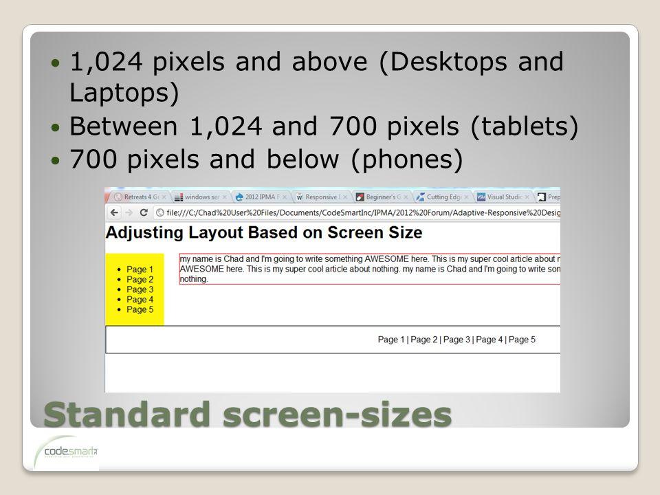 Standard screen-sizes 1,024 pixels and above (Desktops and Laptops) Between 1,024 and 700 pixels (tablets) 700 pixels and below (phones)