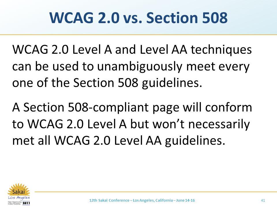 WCAG 2.0 vs.