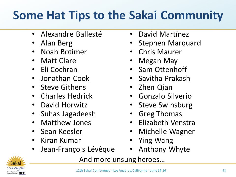 Some Hat Tips to the Sakai Community Alexandre Ballesté Alan Berg Noah Botimer Matt Clare Eli Cochran Jonathan Cook Steve Githens Charles Hedrick David Horwitz Suhas Jagadeesh Matthew Jones Sean Keesler Kiran Kumar Jean-François Lévêque David Martínez Stephen Marquard Chris Maurer Megan May Sam Ottenhoff Savitha Prakash Zhen Qian Gonzalo Silverio Steve Swinsburg Greg Thomas Elizabeth Venstra Michelle Wagner Ying Wang Anthony Whyte 4812th Sakai Conference – Los Angeles, California – June 14-16 And more unsung heroes…