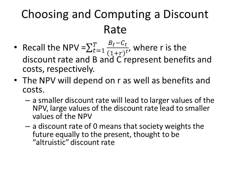 Choosing and Computing a Discount Rate