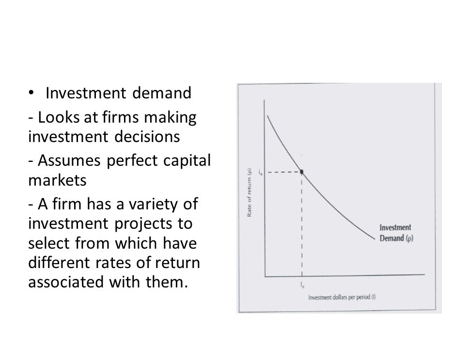 Investment demand - Looks at firms making investment decisions - Assumes perfect capital markets - A firm has a variety of investment projects to select from which have different rates of return associated with them.