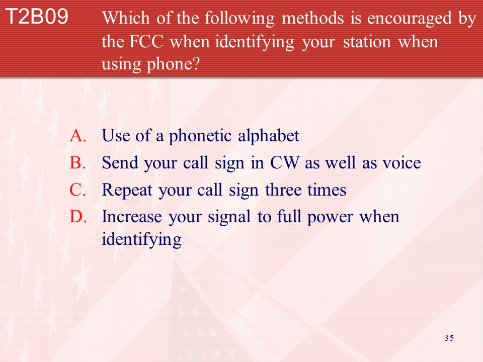 35 T2B09 Which of the following methods is encouraged by the FCC when identifying your station when using phone.