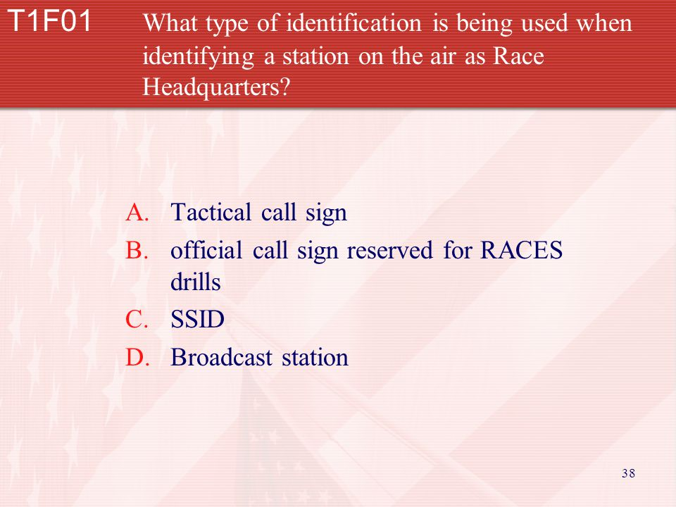 38 T1F01 What type of identification is being used when identifying a station on the air as Race Headquarters.