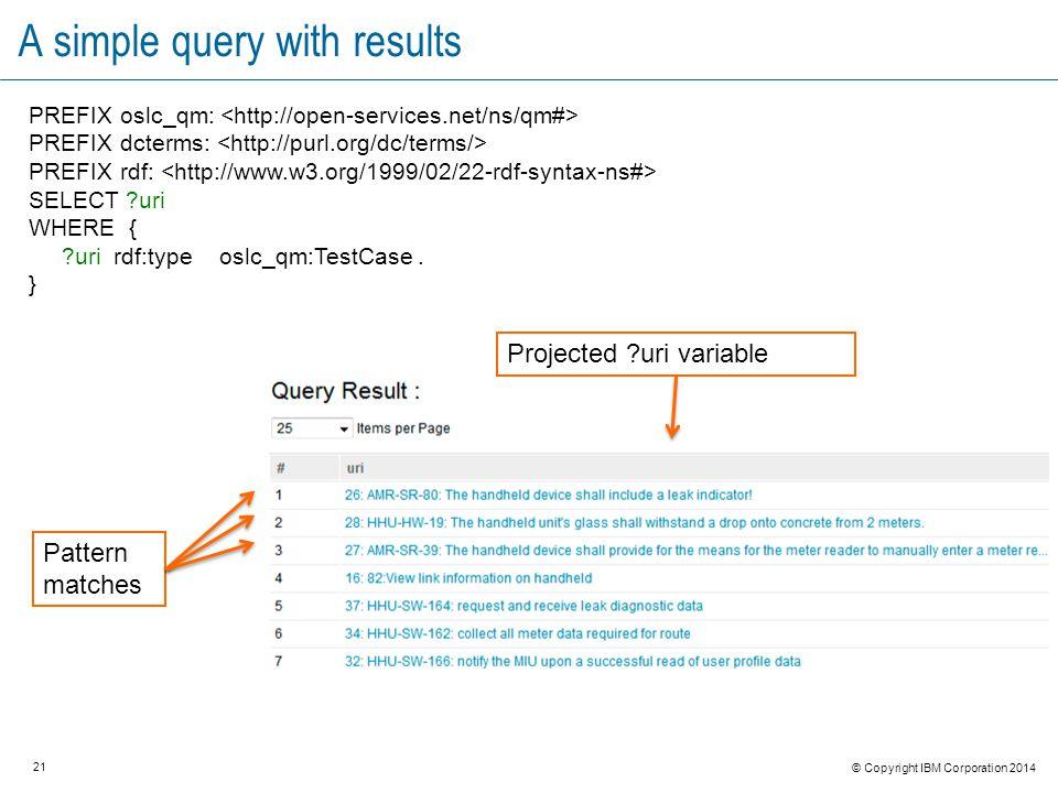 21 © Copyright IBM Corporation 2014 A simple query with results PREFIX oslc_qm: PREFIX dcterms: PREFIX rdf: SELECT ?uri WHERE { ?uri rdf:type oslc_qm:TestCase.