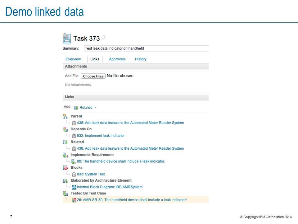 7 © Copyright IBM Corporation 2014 Demo linked data