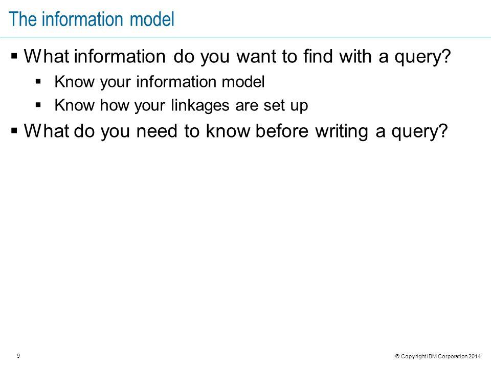 20 © Copyright IBM Corporation 2014 Anatomy of a query PREFIX oslc_qm: PREFIX dcterms: PREFIX rdf: SELECT ?uri WHERE { ?uri rdf:type oslc_qm:TestCase.