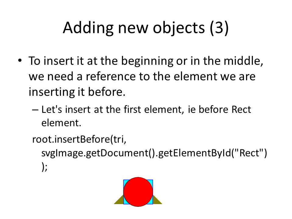 Adding new objects (3) To insert it at the beginning or in the middle, we need a reference to the element we are inserting it before.