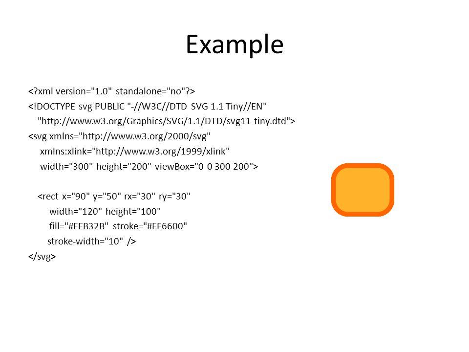 Example <!DOCTYPE svg PUBLIC -//W3C//DTD SVG 1.1 Tiny//EN http://www.w3.org/Graphics/SVG/1.1/DTD/svg11-tiny.dtd > <svg xmlns= http://www.w3.org/2000/svg xmlns:xlink= http://www.w3.org/1999/xlink width= 300 height= 200 viewBox= 0 0 300 200 > <rect x= 90 y= 50 rx= 30 ry= 30 width= 120 height= 100 fill= #FEB32B stroke= #FF6600 stroke-width= 10 />