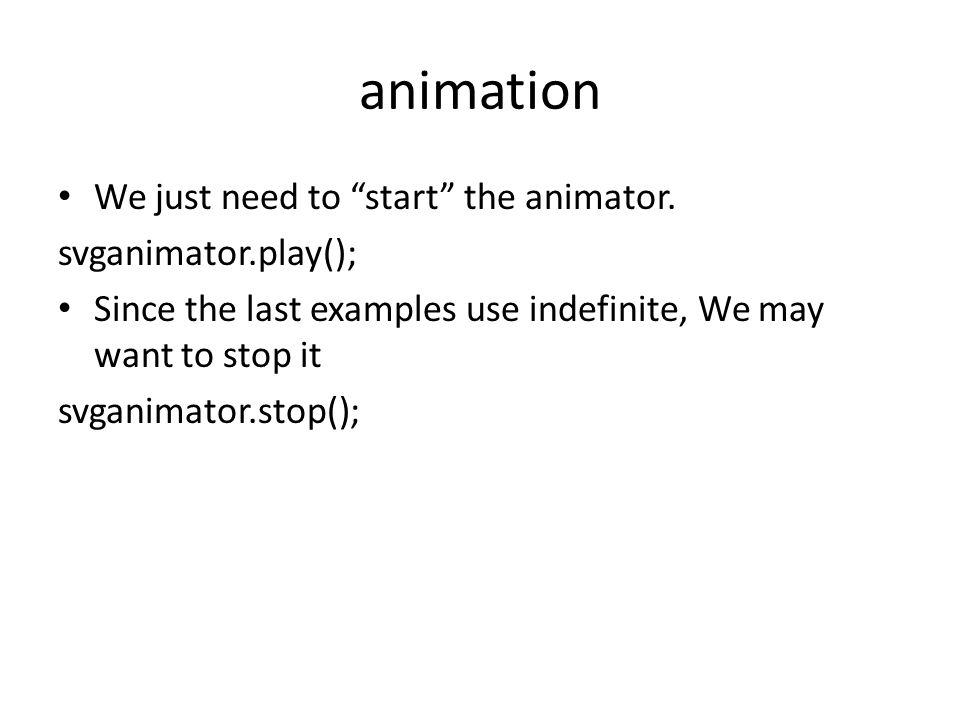 animation We just need to start the animator.