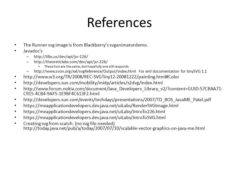References The Runner svg image is from Blackberry's svganimatordemo.