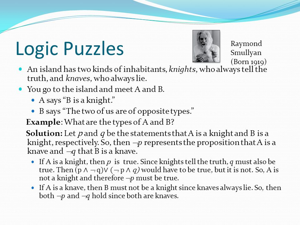 Logic Puzzles An island has two kinds of inhabitants, knights, who always tell the truth, and knaves, who always lie. You go to the island and meet A