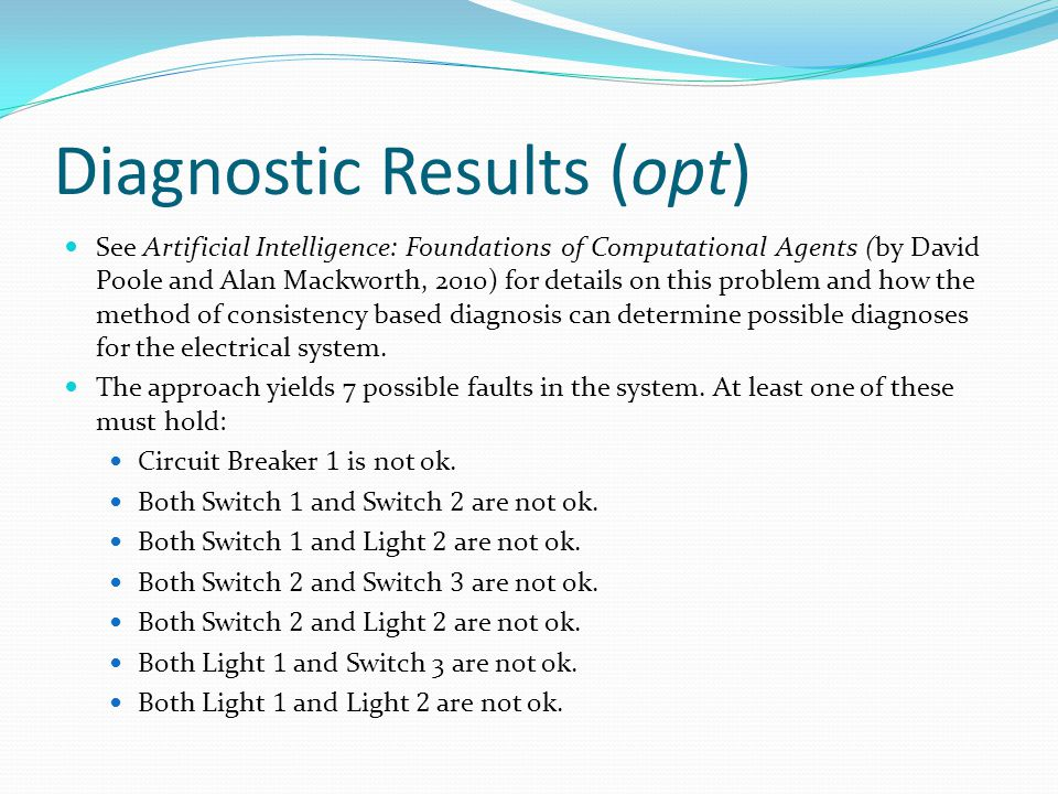 Diagnostic Results (opt) See Artificial Intelligence: Foundations of Computational Agents (by David Poole and Alan Mackworth, 2010) for details on thi