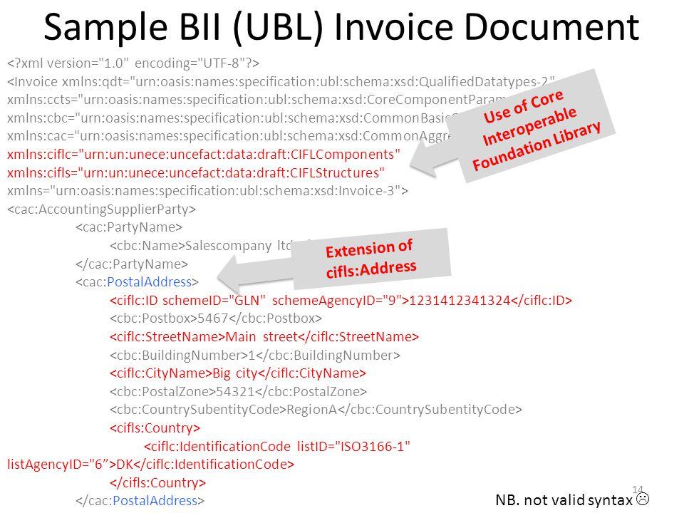 Sample BII (UBL) Invoice Document <Invoice xmlns:qdt=