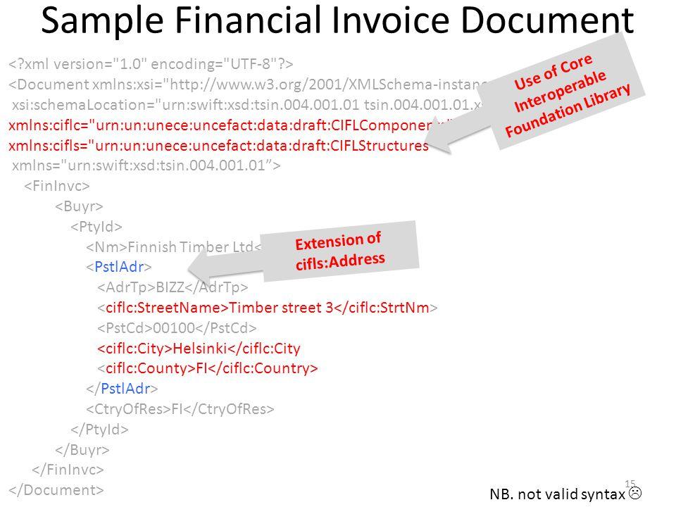 Sample Financial Invoice Document <Document xmlns:xsi=