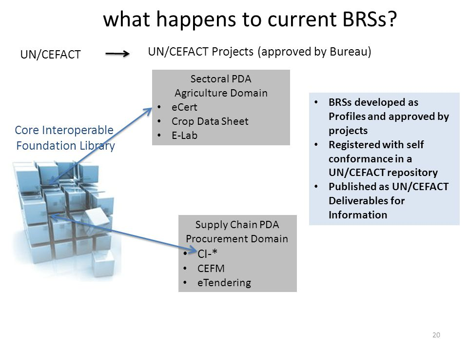 UN/CEFACT Projects (approved by Bureau) Agriculture Domain what happens to current BRSs? UN/CEFACT Core Interoperable Foundation Library Sectoral PDA