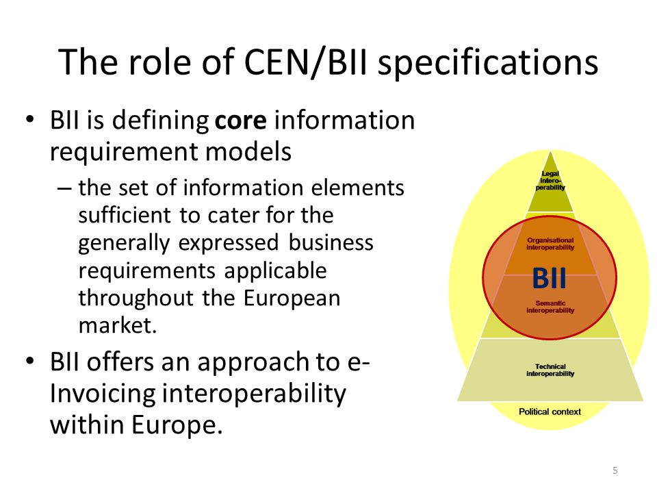 The role of CEN/BII specifications 5 BII BII is defining core information requirement models – the set of information elements sufficient to cater for