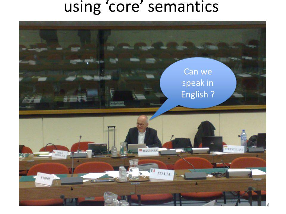 using 'core' semantics Can we speak in English ? 8