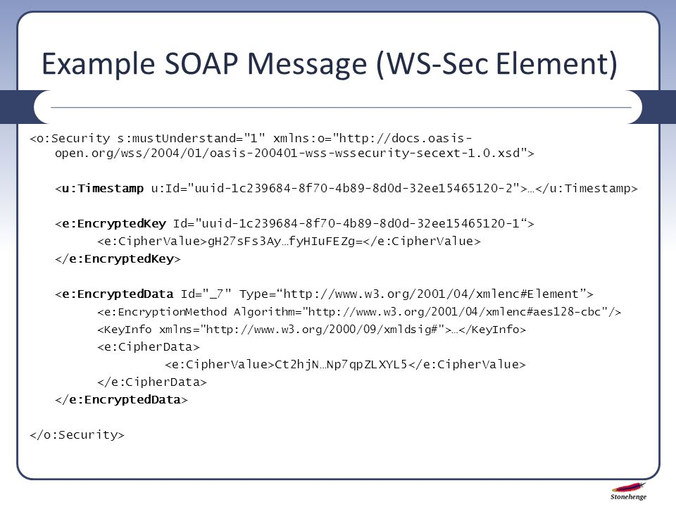 Example SOAP Message (WS-Sec Element) … gH27sFs3Ay…fyHIuFEZg= … Ct2hjN…Np7qpZLXYL5