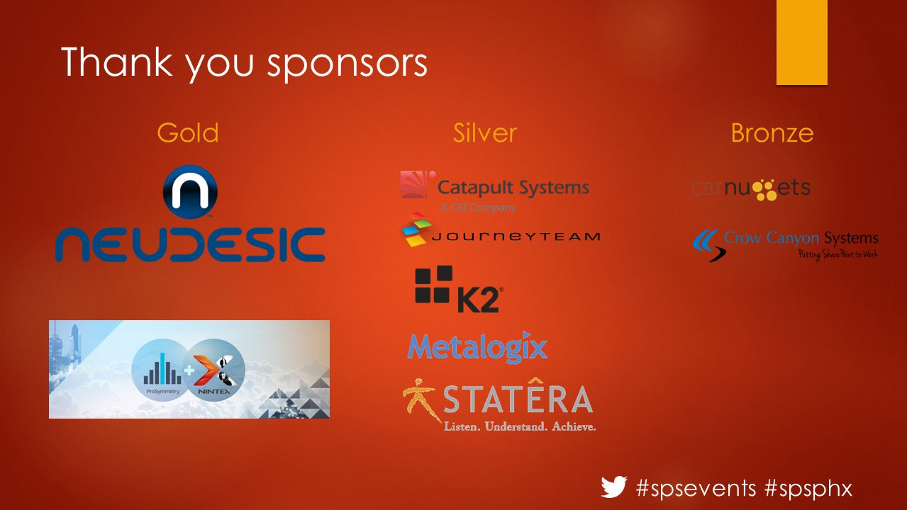 #spsevents #spsphx Thank you sponsors GoldSilverBronze
