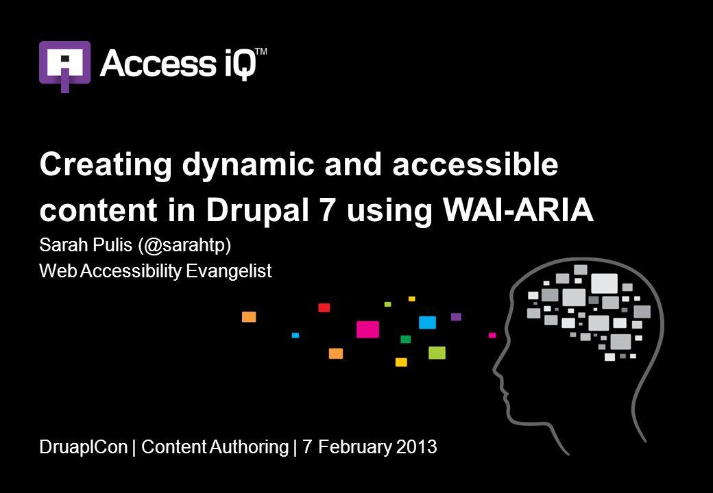W3C WAI-ARIA documents WAI-ARIA technical specification http://www.w3.org/TR/wai-aria/ WAI-ARIA Primer http://www.w3.org/TR/wai-aria-primer WAI-ARIA Authoring Practices http://www.w3.org/TR/wai-aria-practices