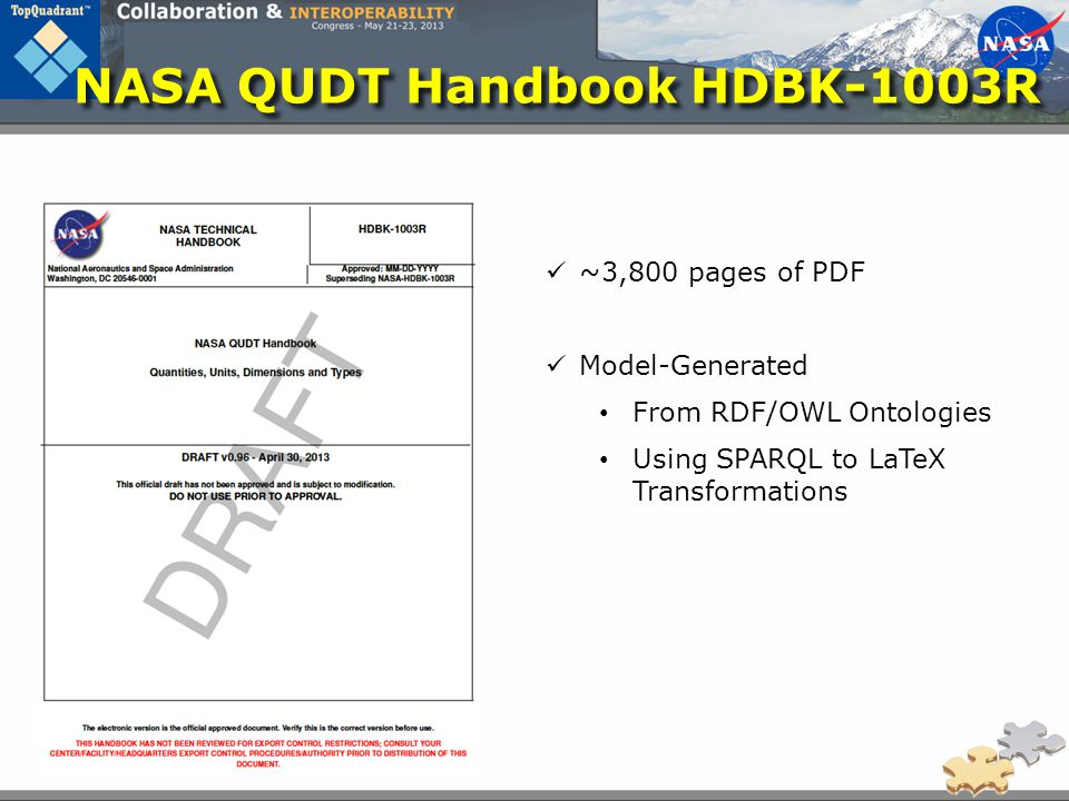 NASA QUDT Handbook HDBK-1003R ~3,800 pages of PDF Model-Generated From RDF/OWL Ontologies Using SPARQL to LaTeX Transformations