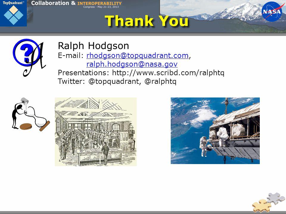 Thank You Ralph Hodgson E-mail: rhodgson@topquadrant.com, ralph.hodgson@nasa.govrhodgson@topquadrant.com ralph.hodgson@nasa.gov Presentations: http://